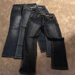 Three pair of Maurice's jeans